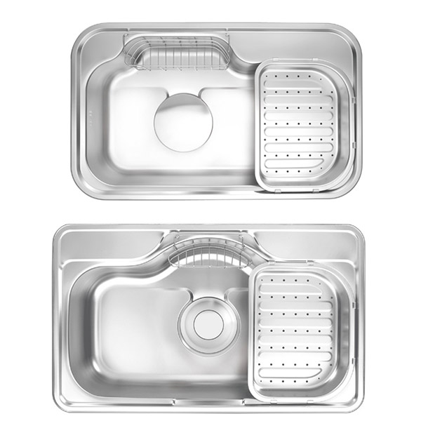 stainless steel kitchen sink and sink accessories like wire basket ...