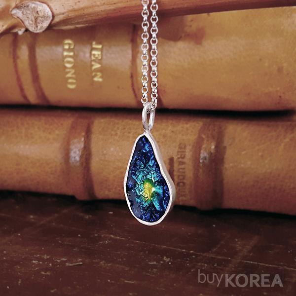 Cell Cloisonne Necklace Oriental Necklace Silver Necklace Enamel