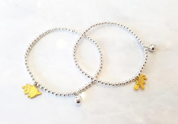 Silver bracelet with gold